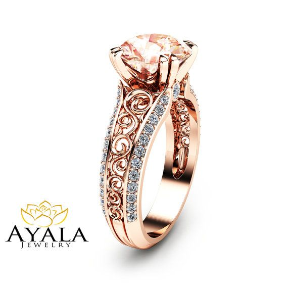 2 Carat Peach Pink Morganite Custom Ring in 14K Rose Gold Unique Design Engagement Ring  Art Deco Styled Ring