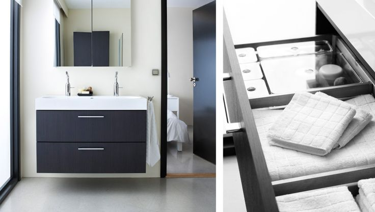 Minimal bathroom with wash-stand and a mirror cabinet. Love it.  GODMORGON/BRAVIKEN sink cabinet with 2 drawers.