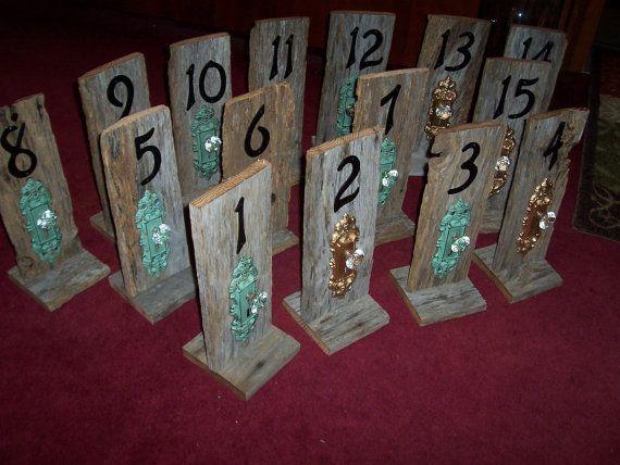 Rustic Table Numbers Door Knob Key Wedding Barn By Primitivearts, $20.00