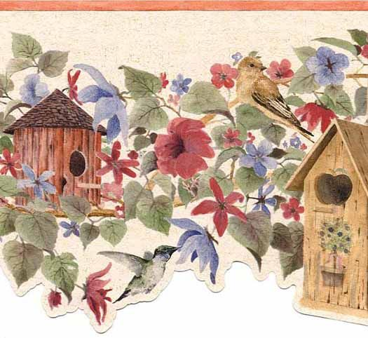Wallpaper border features various shapes and styles of birdhouses and flowers top trim is orange with a die cut laser bottom