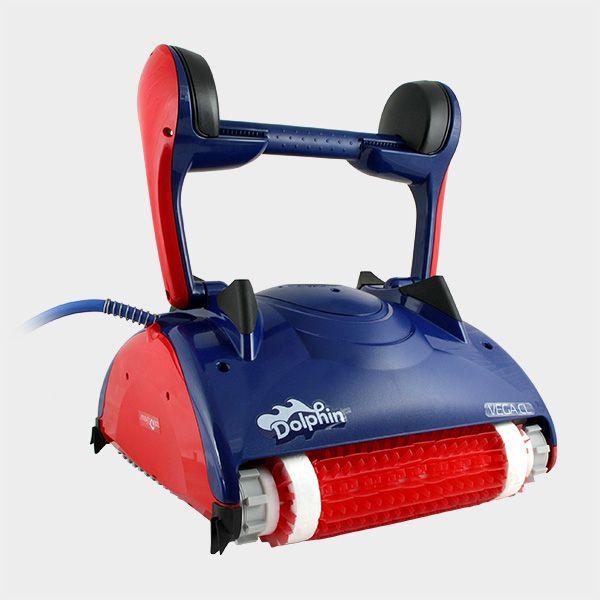 Leistungsstarker, automatischer Poolroboter Dolphin Vega CL mit Lamellen-Combi-Bürsten, welche auch für glatte Oberflächen geeignet sind. Reinigt problemlos Boden, Wand und Wasserlinie Ihres Schwimmbeckens. #pool #cleaner