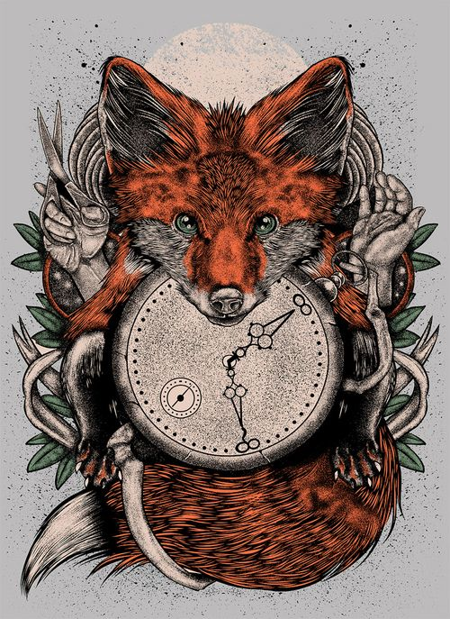 """""""Chaos Fox"""" by Derek Guidry I like how the clock is set into a fox...maybe do this with a twist with a bird smehow"""