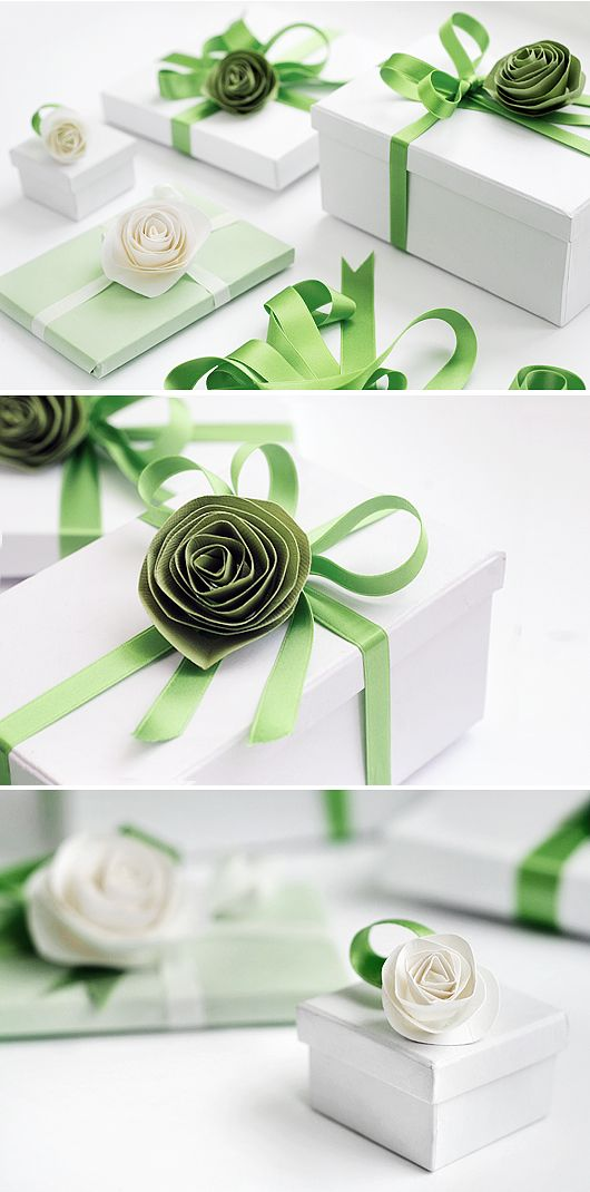 Green and white - for weddings perhaps. I'd love green wrapping paper (the same green as these ribbons) with pink ribbons. For spring birthdays.