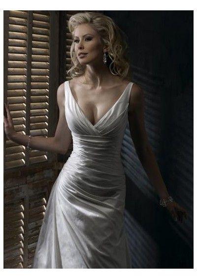 Perfect Wedding dress online shop taffeta sexy deep v neck with shoulder straps slim a line gown with corset closuer wedding gown wm