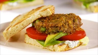 Meatless Mondays! from Giada de Laurentiis. Lentil Burgers with Lemon-Basil Mayonnaise
