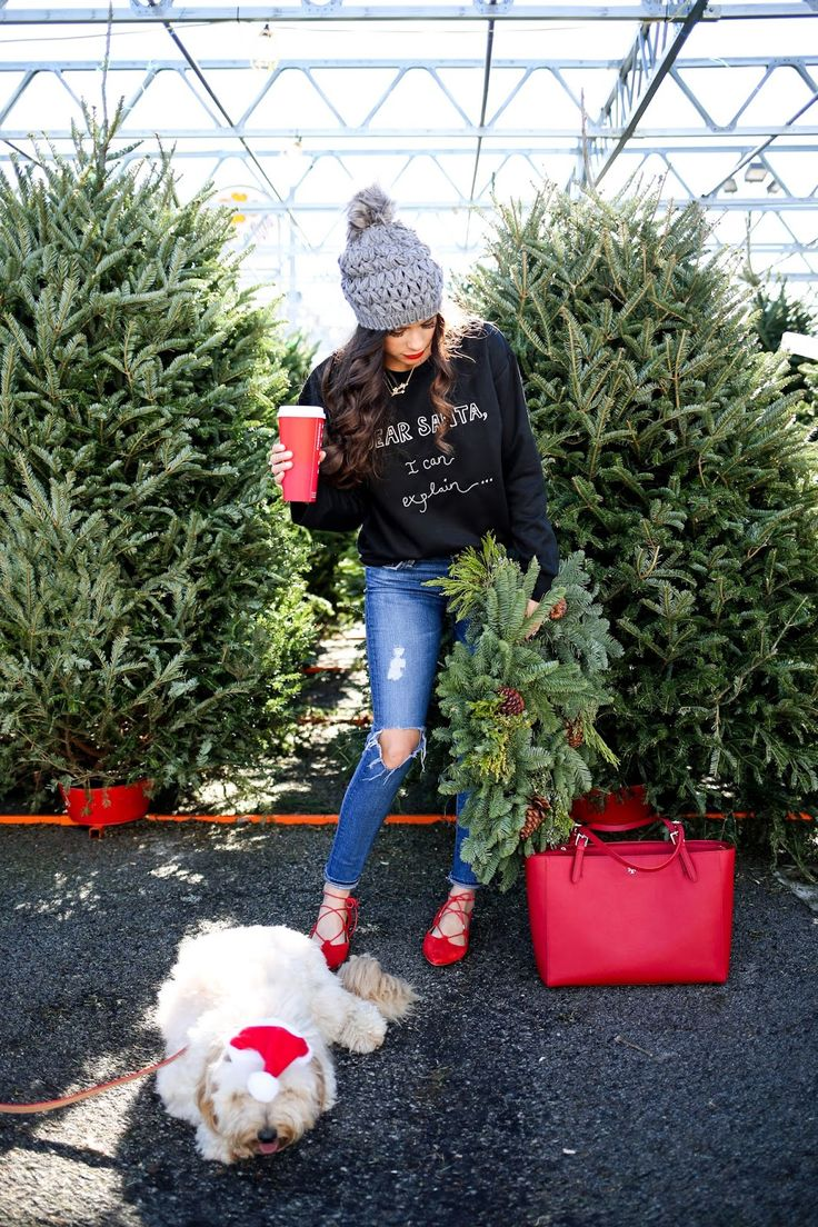 DECEMBER 7, 2015 SANTA BABY... - SWEATSHIRT: Topshop | DENIM: AG (on sale! – these are my fave, too!) | FLATS: Topshop (similar here & here) | HAT: Collection (my second one bc I love these!) | BAG: Tory Burch | LIPS: So Chaud | NECKLACES: Jennifer Zeuner (similar, less expensive here), Love Always | FITZ COLLAR/LEASH: Graphic Image c/o (says 'Fitzy' on the collar!)