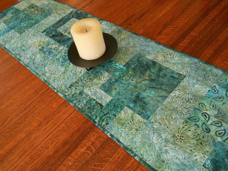 Batik Table Runner Quilted In Aqua Blue Teal, Dining Table Decor, Coffee Table  Runner