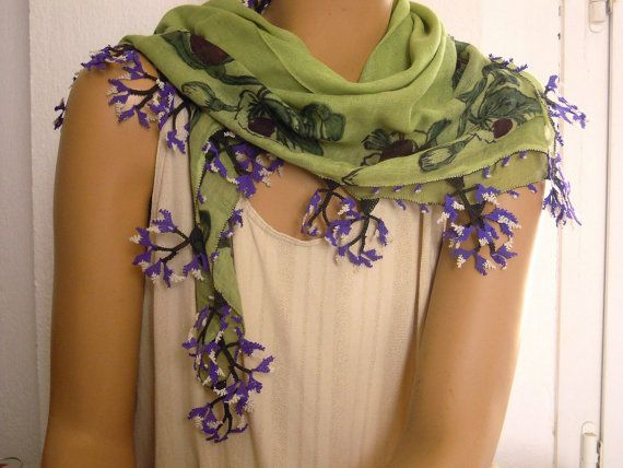 vintage turkish scarf green with purple needle lace by PashaBodrum