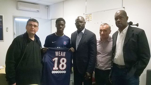 15-year-old Timothy Weah son of George Weah scores 5 goals in a PSG U17 match (Video)