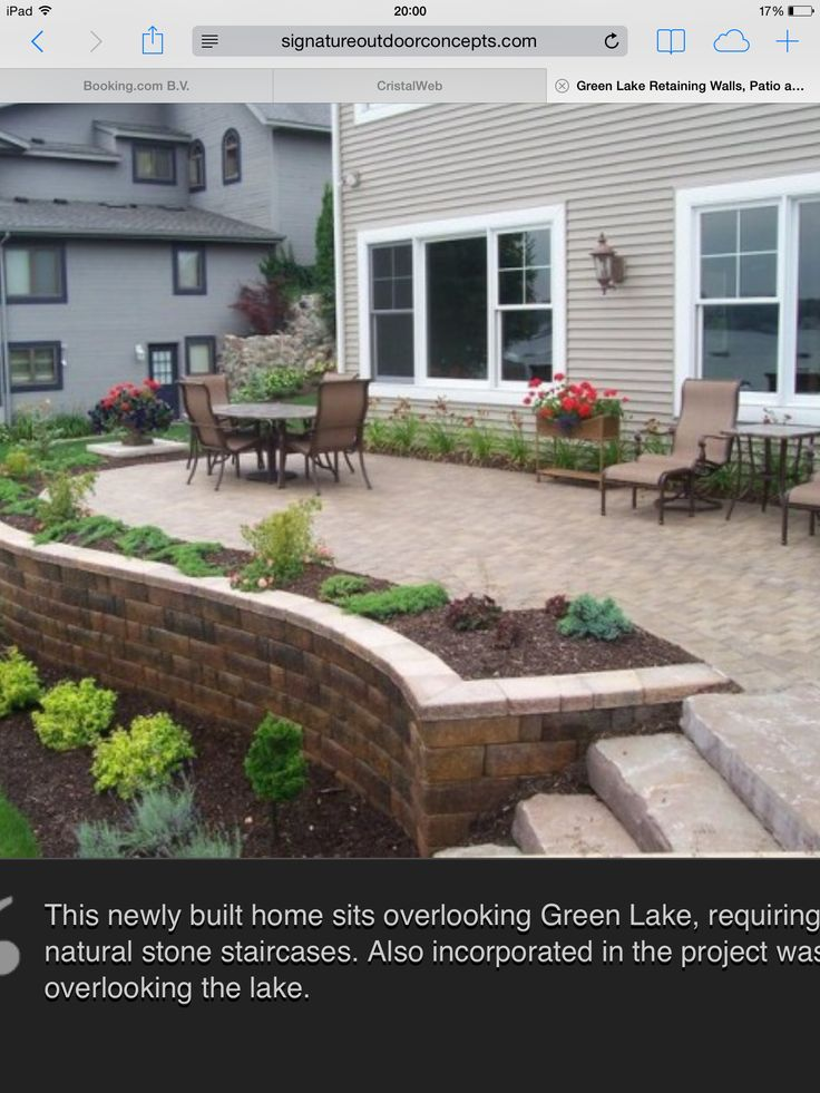 Raised Patio With Steps: Garden Steps And Retaining Wall