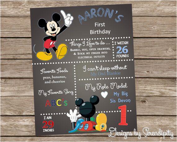 First Birthday Board Mickey Mouse Yo Gabba Printable Diy Custom
