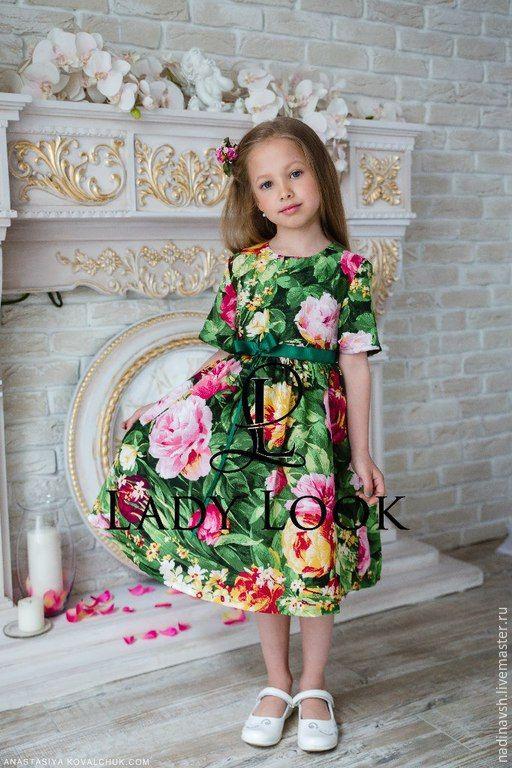 Купить Платье для девочки зеленое - платье для девочки, платье летнее, нарядное детское платье, зеленый