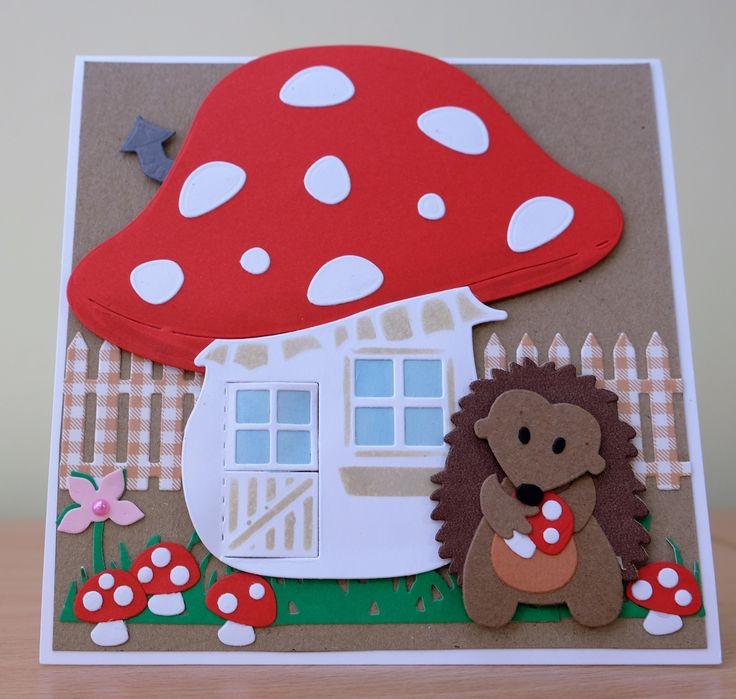Handmade Birthday Card - Marianne Collectables Hedgehog & Mushroom House Die. To purchase my cards please visit the CraftyCardStudio on Etsy.com.