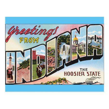 Indiana Vintage Postacard Design Travel Usa Postcard Zazzle Com