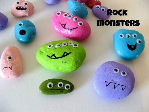 Monster rocks craft for bday party