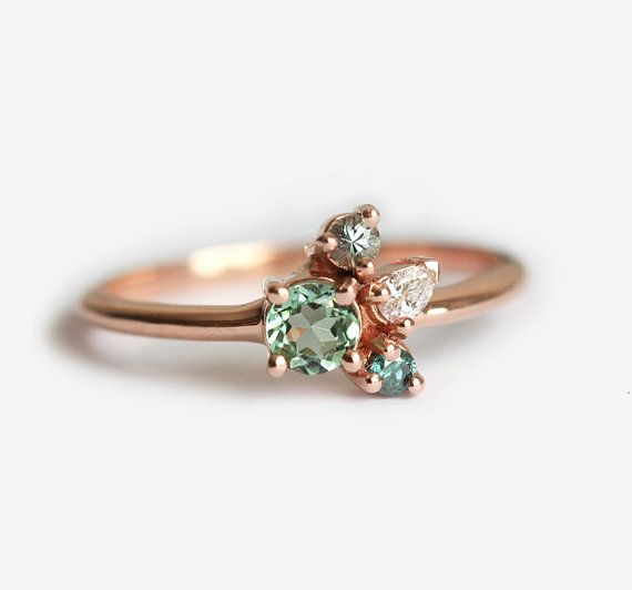 Love love love in white gold. Tourmaline Mini Cluster Ring
