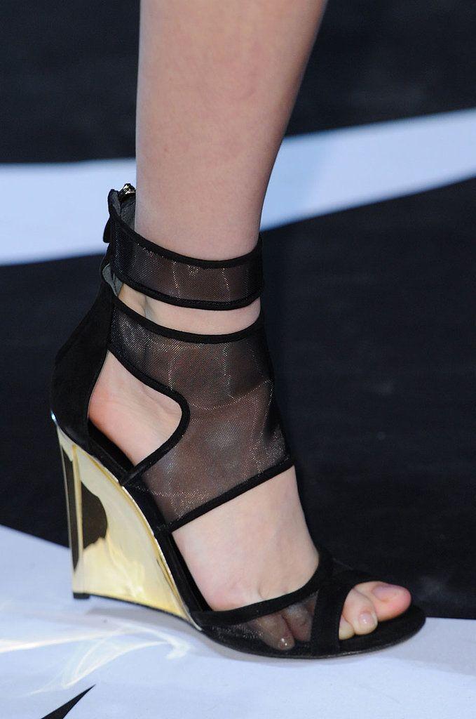 Black and gold wedge heel at Diane von Furstenberg Fall 2014