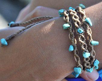 Bracelet de pierres précieuses en macramé, déclaration de mode Hippie Gipsy, unique bijoux Bohème comme idée cadeau sympa pour la soeur maman tante ami (e).