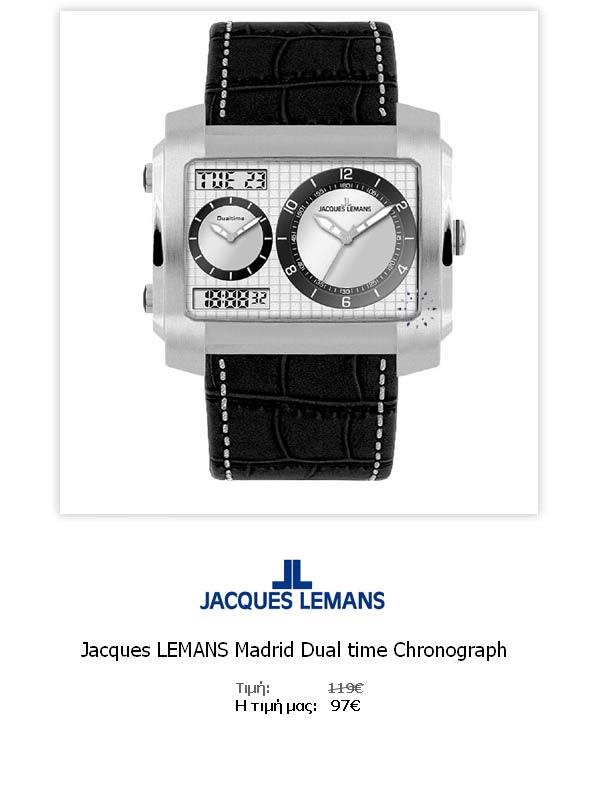 Jacques LEMANS Madrid Dual time Chronograph  1-1708B  Όλες οι λεπτομέρειεςτου ρολογιού εδώ   http://www.oroloi.gr/product_info.php?products_id=31781