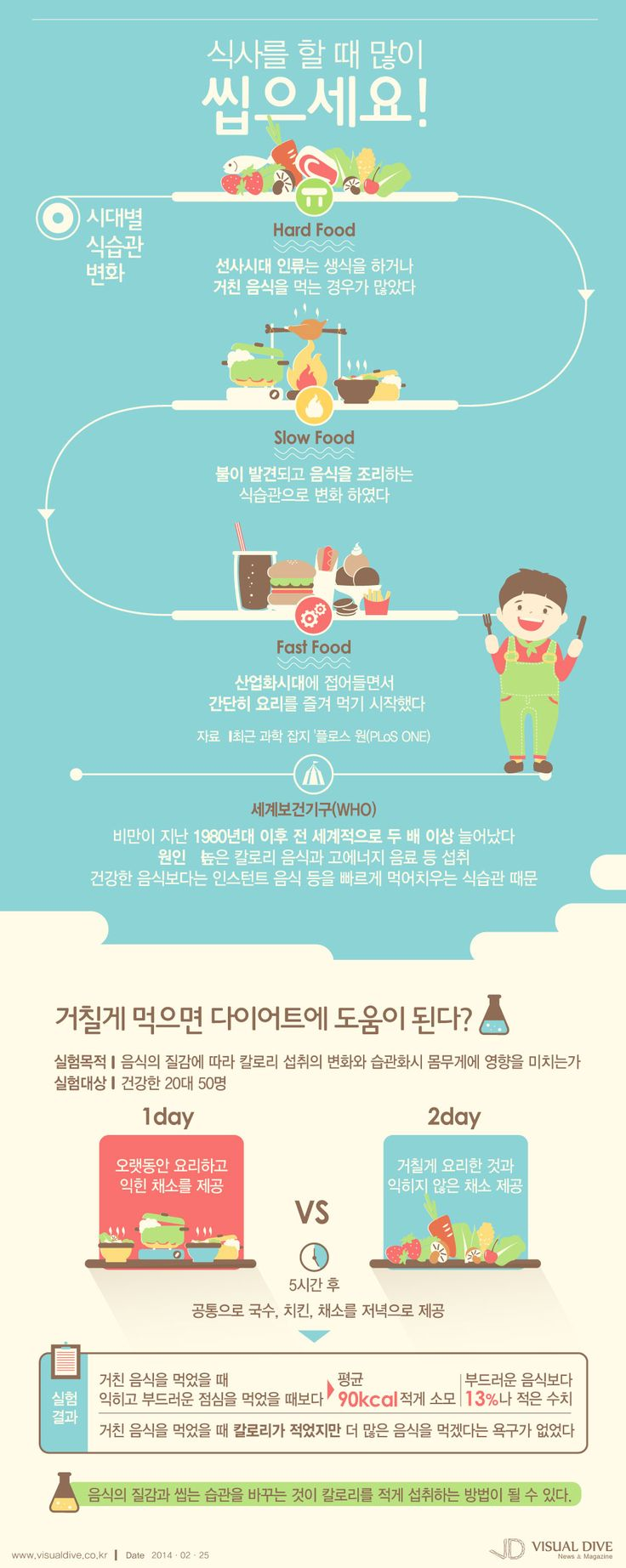 """""""hard food, 거칠게 씹을수록 칼로리 섭취는 줄어들어요"""" [인포그래픽] #food #Infographic ⓒ 비주얼다이브 무단 복사·전재·재배포"""