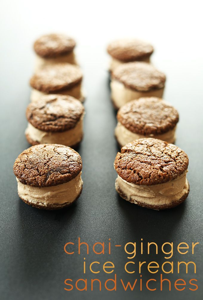 Chai Ginger Ice Cream Sandwiches | Vegan GF    |     Save and organize recipes from anywhere on your iPhone or iPad with @RecipeTin – without typing them in! Find out more here: www.recipetinapp.com      #recipes #vegan #desserts