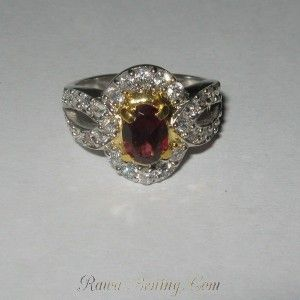 Cincin Garnet Silver 925 Ring 6US