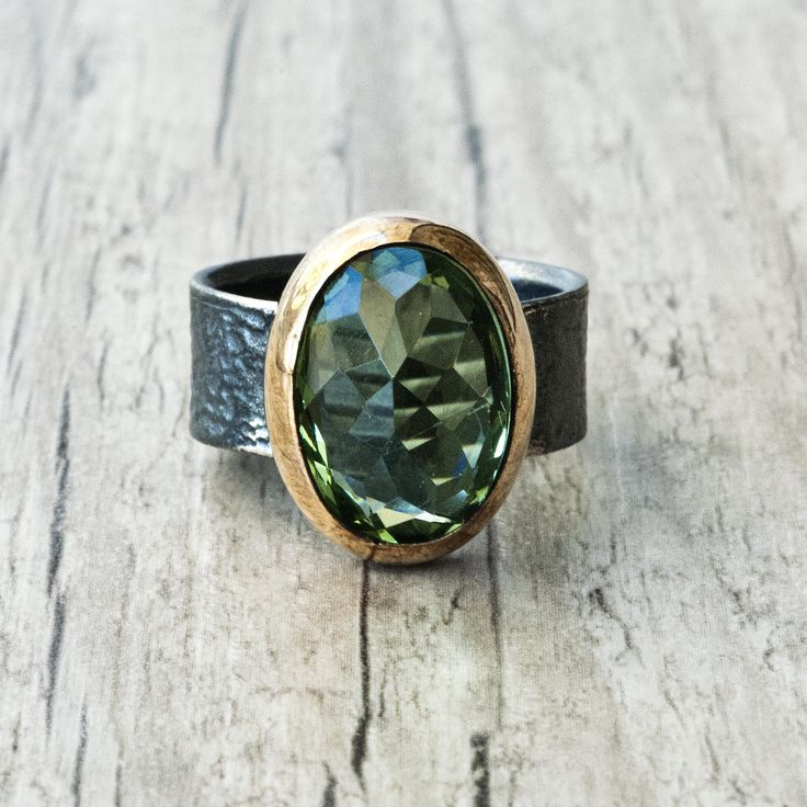Peridot Oval Ring, Sterling Silver and Gold Green Gemstone Ring