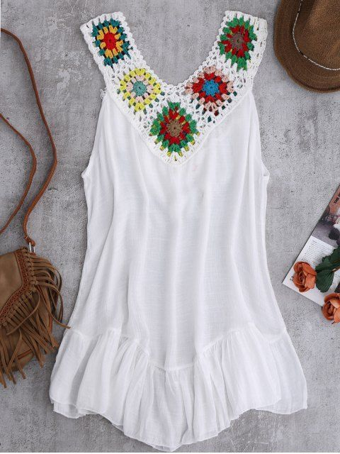 Crochet Yoke Cover-Up Tank Dress - WHITE ONE SIZE