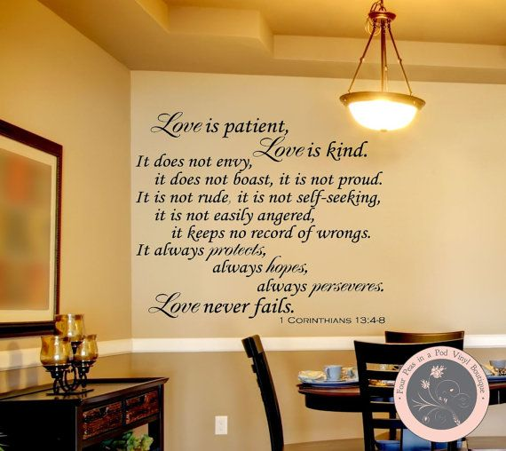 Wall Decals for the Home  Love is Bible by FourPeasinaPodVinyl, $20.00 wall decals, vinyl wall decals, Christian wall decals, Corinthians verse