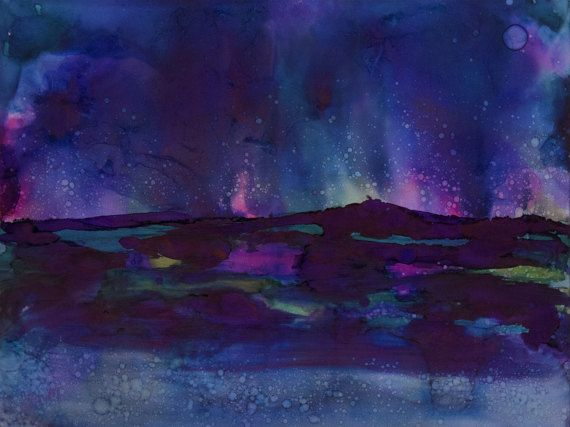 Original Wall Art Painting Midnight Blue Aurora by WatercolorMuse1