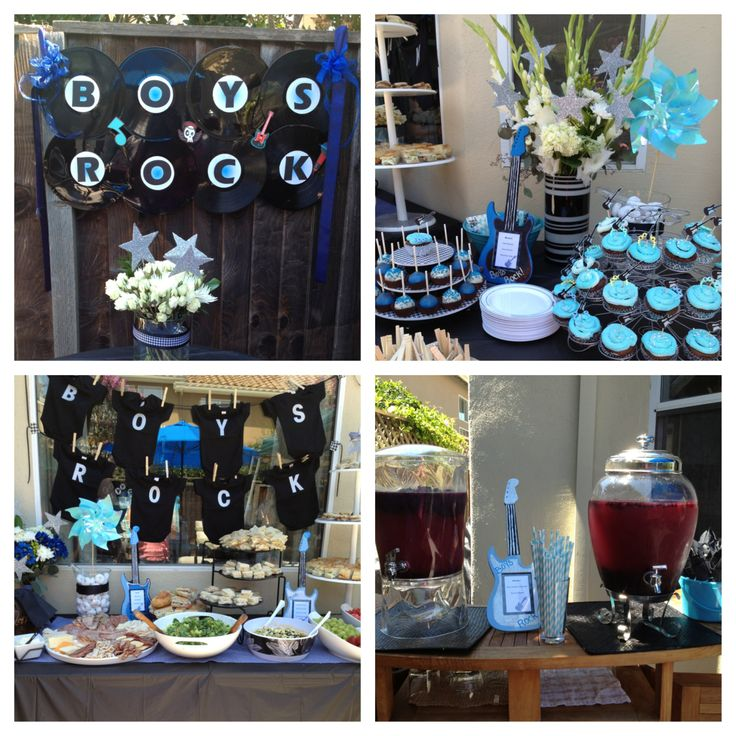 Boys Rock Baby Shower w/Houndstooth pattern color scheme theme, guitar menu frames hand painted from Michaels, vinyl record banner, vinyl record patter for serving settings. Everything down to the detail to make this event elegant!