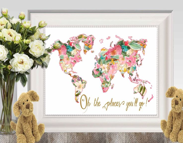 Oh the places you'll go Large Floral world map print Pink gold Nursery world map Dr Seuss quote Travel gift idea 16x20 8x10 5x7 DOWNLOAD by DorindaArt on Etsy https://www.etsy.com/listing/236258835/oh-the-places-youll-go-large-floral