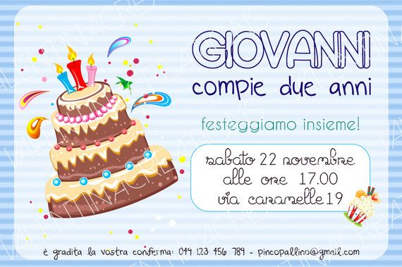Biglietto di invito per festa di compleanno
