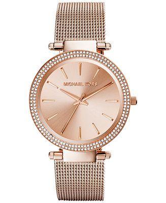 Michael Kors Women's Darci Rose Gold-Tone Stainless Steel Mesh Bracelet Watch 39mm MK3369 - Michael Kors - Jewelry & Watches - Macy's