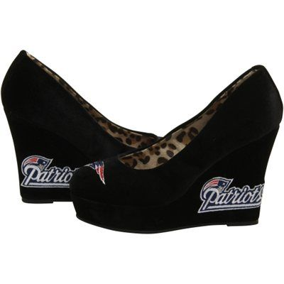 New England Patriots  Women's Groupie II Wedge Shoes - Black