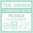 Free large teal chevron classroom decorations package.  Editable PDF file!  If you like this file, please consider downloading one of the other dec...