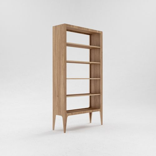 The big rack S6 looks clear because of six symmetric shelves. The construction is raised above the floor on tapered legs. Shelves are made of oak veneered plywood. The model is appropriate for holding big amount of books, magazines and decoration elements.