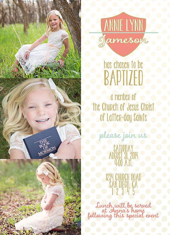 LDS Baptism Invitation Gold Girl Baptism by NikiNoelPrintables