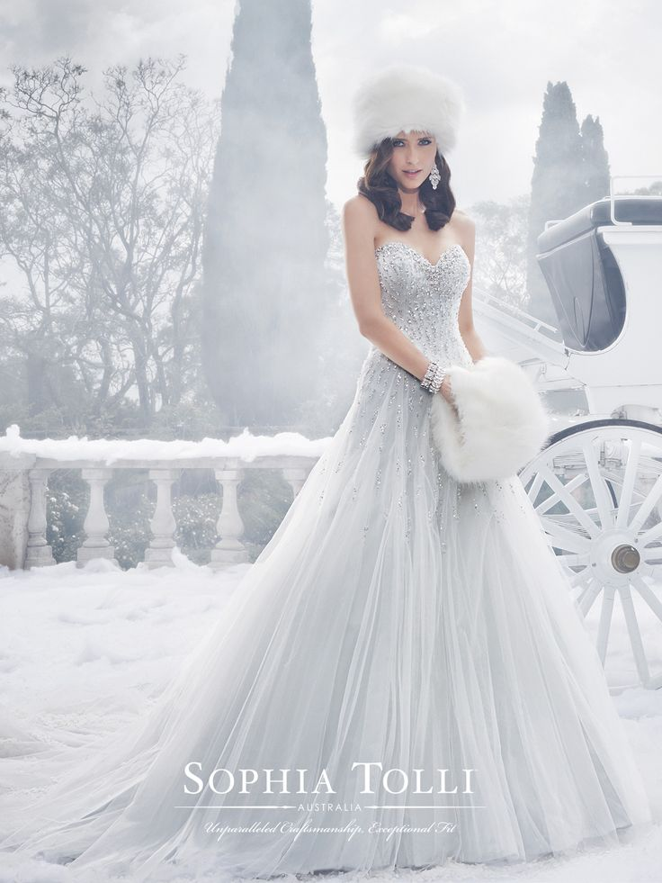 Style Y21521, Danni, is a beautiful strapless tulle wedding dress with back corset designed by Sophia Tolli for her Fall 2015 Bridal Gown Collection.