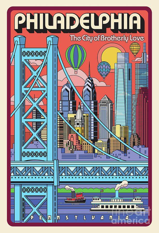 Digital Art Philadelphia Poster Pop Art Travel By Jim Zahniser Affiliate Aff Ad Philad Philadelphia Poster Philadelphia Wall Art Philadelphia Art