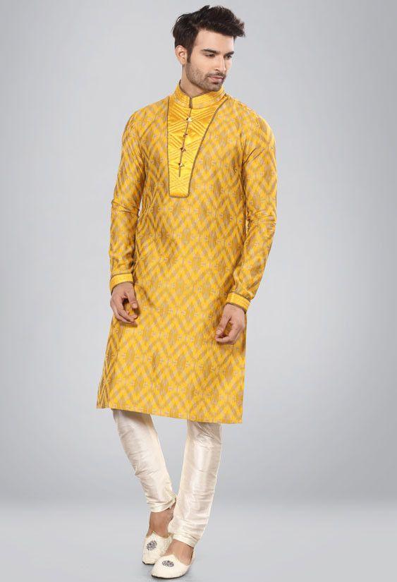 68c69e1894 Golden Yellow Men's Kurta Pyjama | Kurta Pyjama Set | Pajamas ...