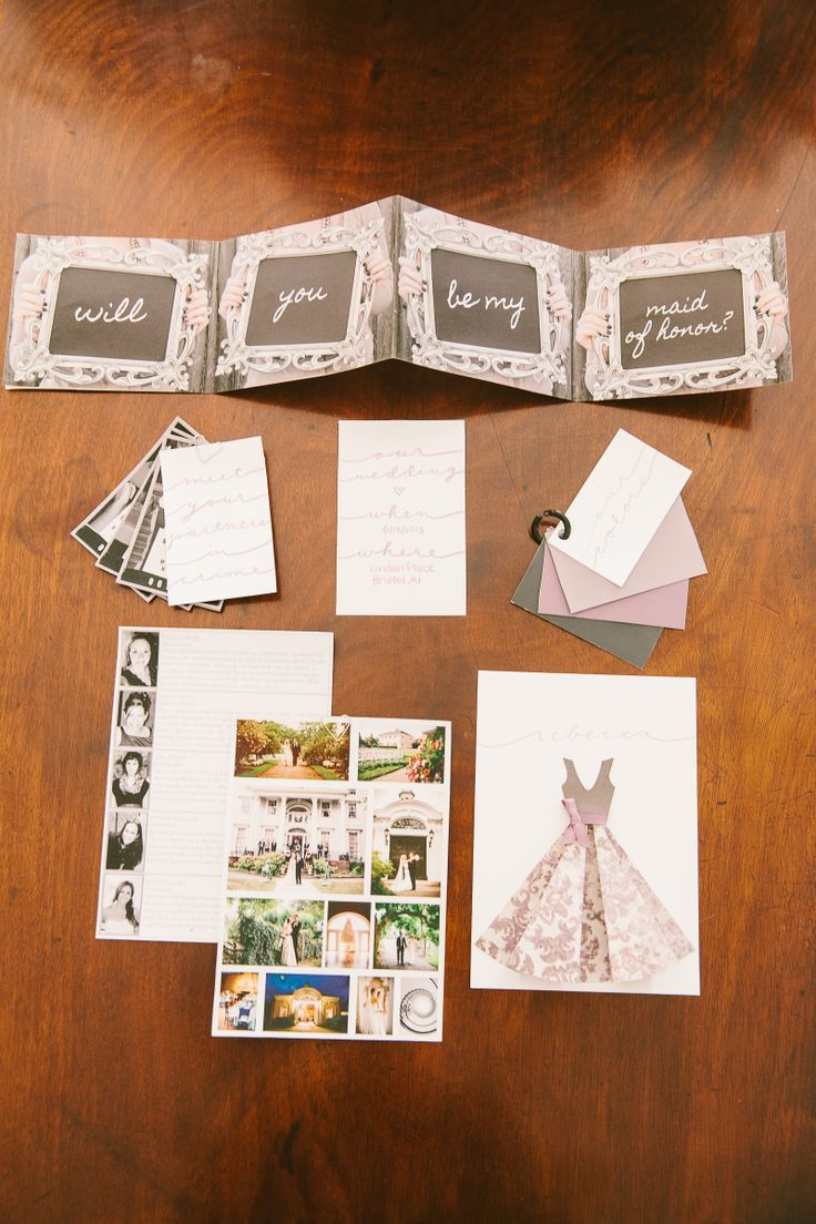 How Cute! Send your ladies a sketch of your dress, your inspiration board, color palette swatches, bio of other #bridesmaids, and an invitation to be part of the wedding party. LOVE this #WeddingIdea!  Photography: RebeccaArthurs.com | See the wedding here: http://www.stylemepretty.com/2013/11/06/bristol-rhode-island-wedding-from-rebecca-arthurs/