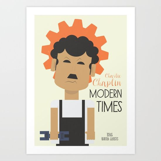"Fine art movie poster for Charlie Chaplin's 1936 comedy film ""Modern Times"" (tempi moderni). The Little Tramp character struggles to survive in modern, industrialized world. Starring Paulette Goddard, Henry Bergman, Tiny Sandford and Chester Conklin."