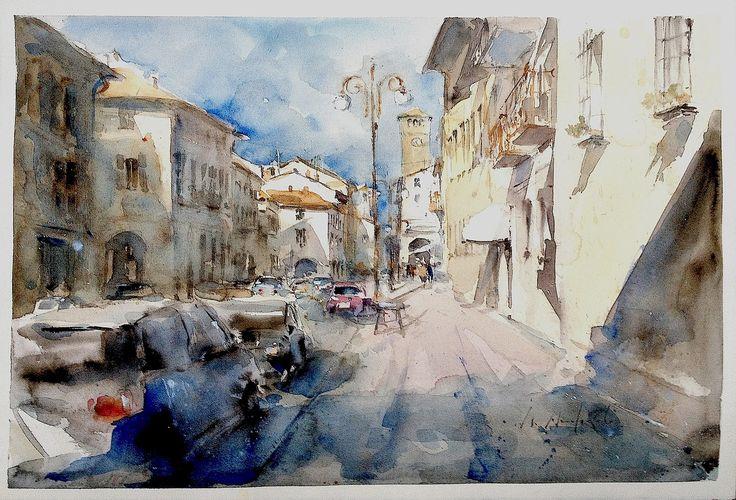 Roberto Andreoli CHERASCO: VIA VITTORIO EM. Acquerello cm. 56x38