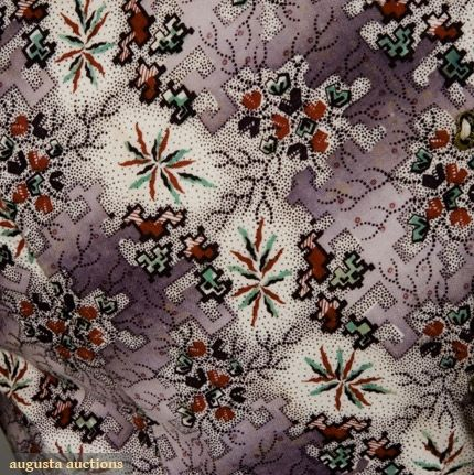 Augusta Auctions: c1828-1835 From maternity dress-white cotton ground printed with abstract red, green,and purple floral print