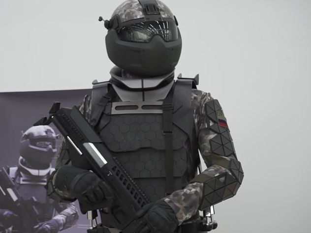 """The """"next-generation"""" suit comes with a """"powered exoskeleton"""" that supposedly gives the soldier more strength and stamina, along with """"cutting-edge"""" body armor, and a helmet and visor that shields the soldier's entire face, RT said..."""
