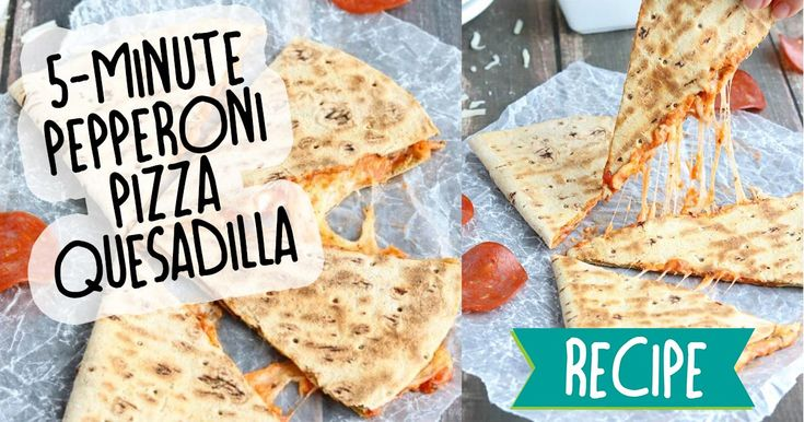 This easy, cheesy Pepperoni Pizza Quesadilla recipe takes just minutes to throw together! Kids love these! #recipe #food