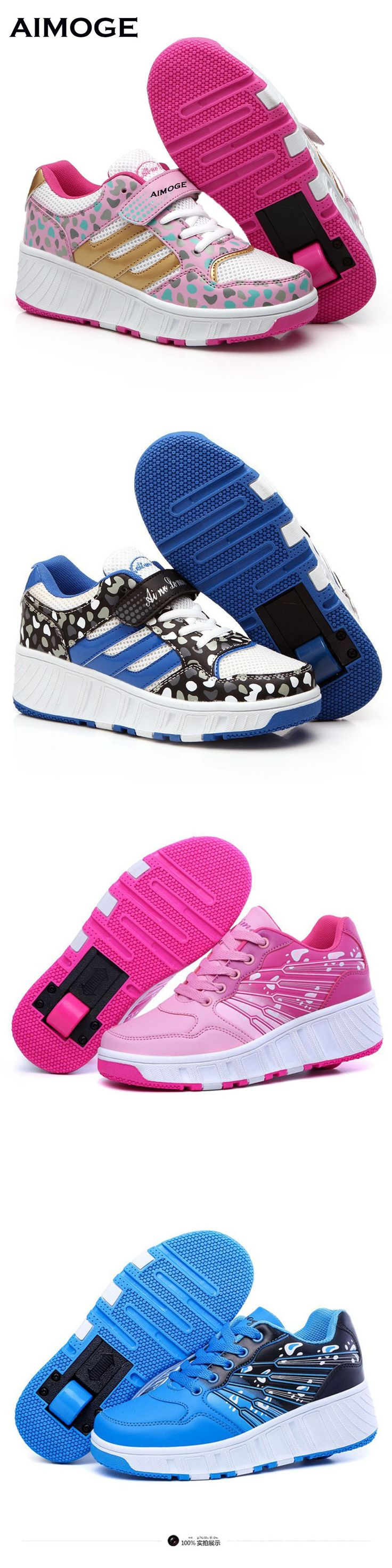 New 2016 Child shoes Summer Style Breathable WHEELYS Roller Skate Shoes For Girls Kids Boys Sneakers With one Wheels Pink Blue $49.98