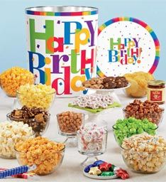 Big Happy Birthday Deluxe Snack Assortment  Popcorn Gifts | Gourmet Popcorn Gift Baskets | The Popcorn Factory  www.thepopcornfactory.com