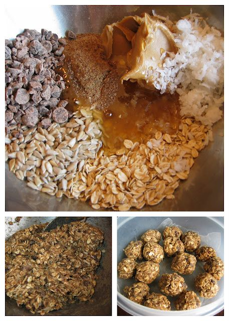Energy Balls 1 cup rolled oats (OLD fashioned, NOT quick) 1/2 cup peanut butter (or almond butter) 1/3 cup RAW honey 1/2 cup ground flax seeds 1/3 cup coconut 1/3 cup raw sunflower seeds (unsalted) 1/2 cup mini chocolate chips, OR, dark chocolate chunks 1/4 tsp salt 1 tsp vanilla Mix altogether and refrigerate 45 minutes to an hour Roll into small balls and keep refrigerated...